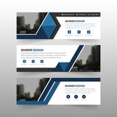 Blue black triangle corporate business banner template, horizontal advertising business banner layout template flat design set , clean abstract cover header background for website design