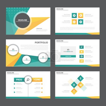 Blue and yellow presentation templates Infographic elements flat design set for brochure flyer leaflet marketing advertising