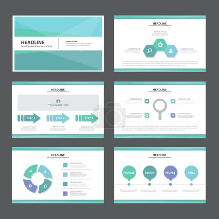 Illustration for Blue and green presentation templates Infographic elements flat design set for brochure flyer leaflet marketing advertising - Royalty Free Image