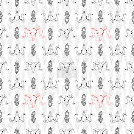 Photo pour Modèle sans couture avec des crânes de chèvre et de plumes dessinées à la main. Dessin au trait des crânes. Arrière-plan mystique pour votre conception. - image libre de droit