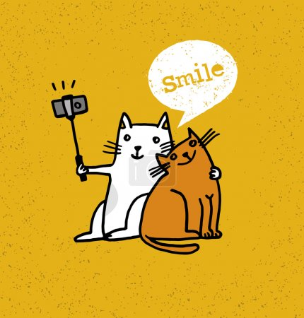 Illustration for Two Cats Making Photo Using Selfie Stick. Funny Animal Illustration On Distressed Background - Royalty Free Image