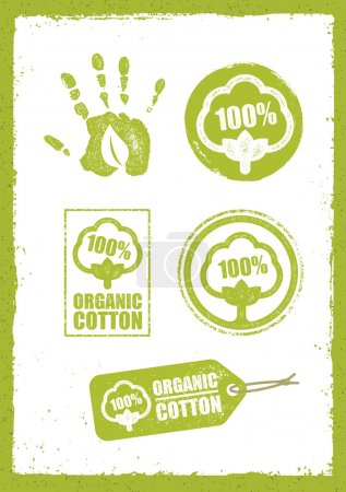 Illustration for Organic Cotton Creative Concept On Grunge Rust Background. Eco Green Set Of Vector Icons - Royalty Free Image