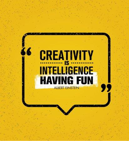 Illustration pour La créativité est Intelligence en s'amusant. Source d'inspiration créative Motivation citation. Vector typographie Speech Bubble Banner Design Concept - image libre de droit