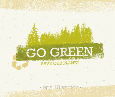 Illustration for Go Green Eco Forest Creative Vector Design Element On Paper Background - Royalty Free Image