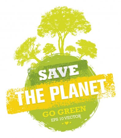 Illustration for Save The Planet Go Green Creative Eco Vector Design Elements. Organic Bio Globe With Trees - Royalty Free Image