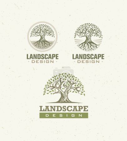 Illustration for Landscape Design Creative Vector Concept. Trees With Roots Inside Circle Organic Sign Set On Craft Paper Background - Royalty Free Image