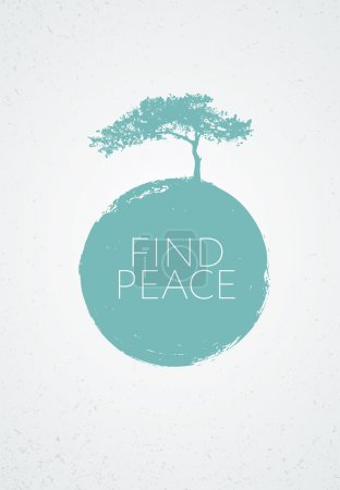 Illustration for Find Peace. Creative Minimalistic Zen Poster Vector Concept. Pine Tree Silhouette With Grunge Circle Background - Royalty Free Image