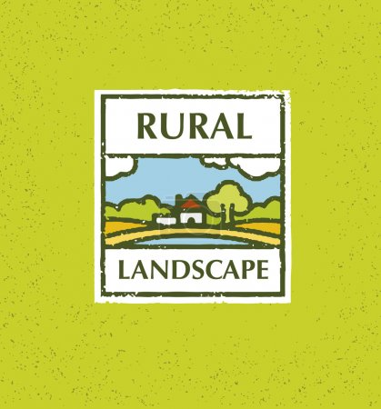 Illustration for Rural Landscape Creative Vector Design Element On Rust Eco Green Background - Royalty Free Image