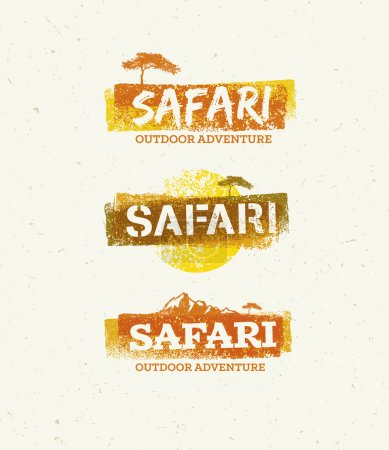 Illustration for Safari Outdoor Adventure Vector Design Elements. Natural Grunge Concept on Recycled Paper Background - Royalty Free Image