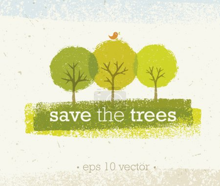 Illustration for Save The Trees Creative Eco Green Organic Vector Design Concept on Recycled Paper Background - Royalty Free Image