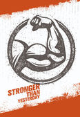 Stronger Than Yesterday Biceps Arm Workout and Fitness Sport Motivation Quote Creative Vector Typography Poster Concept On Rusty Distressed Background