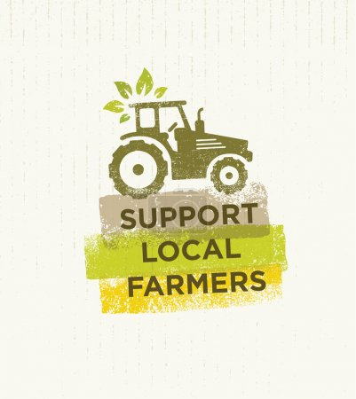 Illustration for Support Local Farmers Creative Vector Concept. Healthy Safe Food Eco Design Element On Cardboard Background - Royalty Free Image