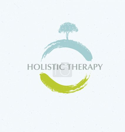 Illustration for Holistic Therapy Zen Tree Creative Vector Concept On Organic Background - Royalty Free Image