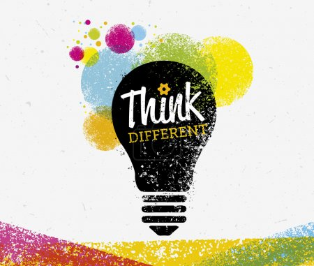 Illustration for Think Different Creative Vector Concept on Paper Background - Royalty Free Image