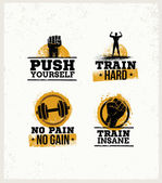 Workout Gym Sport and Fitness Motivation Vector Design Elements on Grunge Background