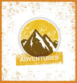 Outdoor Adventure Mountain Sunrise Creative Vector Design Element On Grunge Background