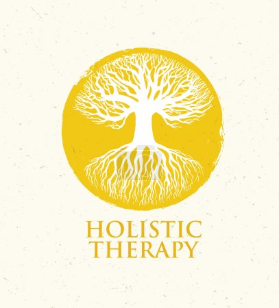 Illustration for Holistic Therapy Tree With Roots On Organic Paper Background. Natural Eco Friendly Medicine Vector Concept - Royalty Free Image