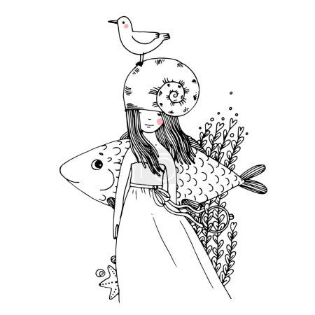 Girl, fish, seagulls, seaweed, starfish, ring.