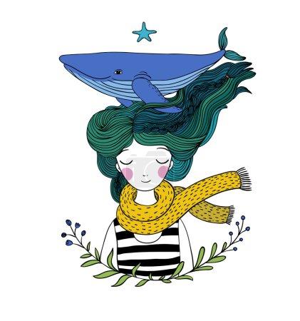 Illustration pour Belle jeune fille marin avec une baleine dans les cheveux. Des animaux marins. Dessin à la main d'objets isolés sur fond blanc . - image libre de droit