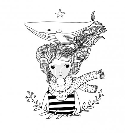 Illustration for Beautiful young girl sailor with a whale in her hair. Sea animals. Hand drawing isolated objects on white background. - Royalty Free Image