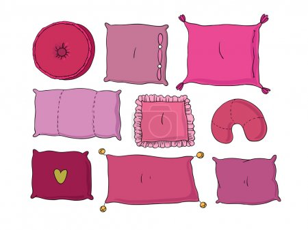 Types of sleeping pillows set.