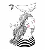 Beautiful young girl sailor with a whale