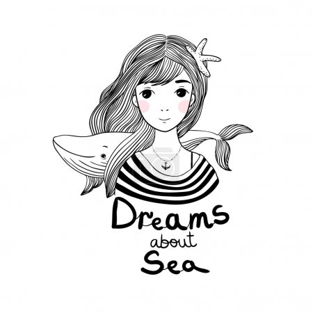 Illustration pour Belle jeune fille marin avec une baleine et une étoile dans les cheveux. Thème mer. Dessin à la main d'objets isolés sur fond blanc. Illustration vectorielle . - image libre de droit
