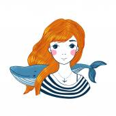 Beautiful young girl sailor with a whale and star in her hair