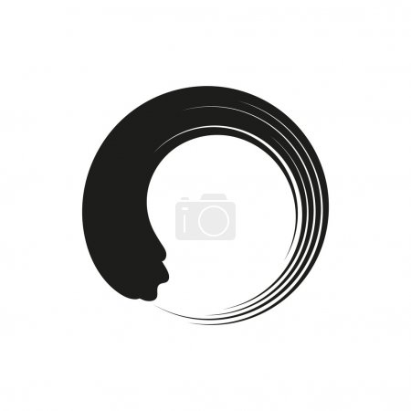 Illustration for Zen enso circles in modern minimalist style. simple black icon isolated on white background. Elements for company logos, print products, page and web decor. Vector illustration. - Royalty Free Image