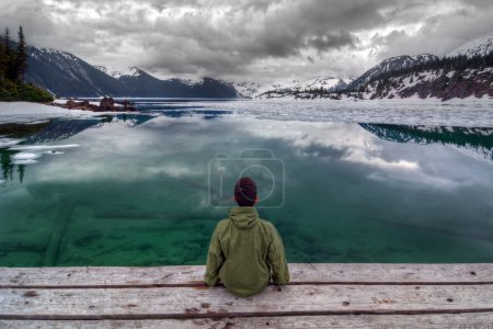 boy looking at Clear lake and mountains