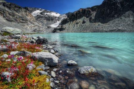 Bright cyan mountain lake