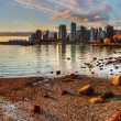 Vancouver downtown panorama sunrise reflection...