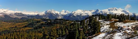 Panoramic view of snow-capped mountains