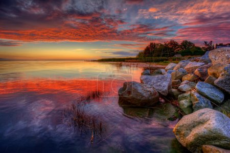 Calm water at sunset