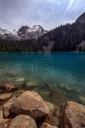 Photo for Mountain lake with a perfect reflection, varying shades of blue, and wooded shores - Royalty Free Image