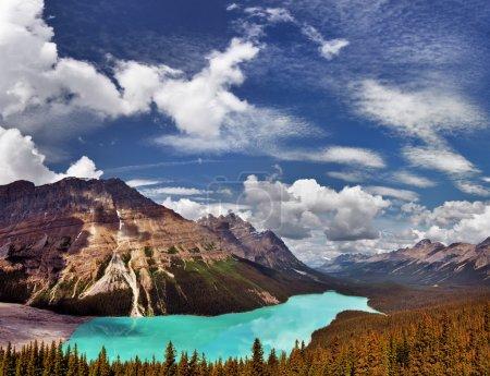 Beautiful aqua blue mountain lake