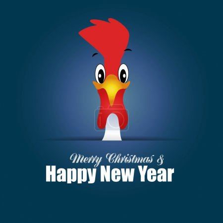 Hand drawn doodle Rooster. Happy New Year card. blue background with funny Cock. Christmas card with icon of the bird. Rooster symbol of Chinese New Year 2017 - vector illustration