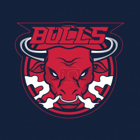 Bull mascot for sport teams. Symbol on a dark background.