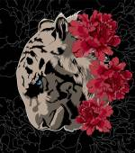 Tiger with flowers Vector poster with peonies