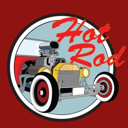 Illustration for Hot rod vintage poster. Vector illustration old car - Royalty Free Image