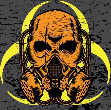 Illustration for Skull wearing a gas mask. vector art - Royalty Free Image