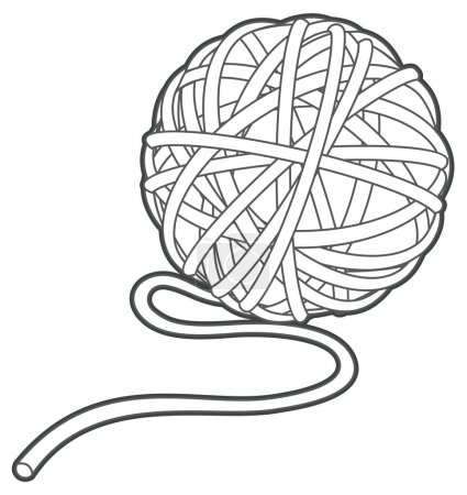 ball of yarn vector outline