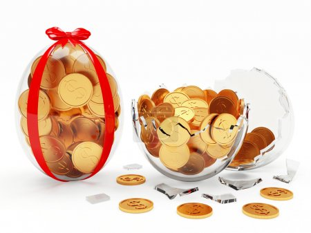 Photo for Glass Easter eggs full of golden coins isolated on white background - Royalty Free Image