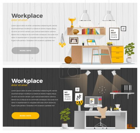 Illustration for Some business office style in cartoon flat style. Horizontal banners - Royalty Free Image