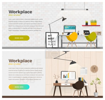 Illustration for Two banner for web design. Office theme - Royalty Free Image