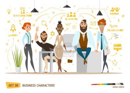 Illustration pour Scène de personnages d'affaires. Travail d'équipe dans un bureau d'affaires moderne . - image libre de droit