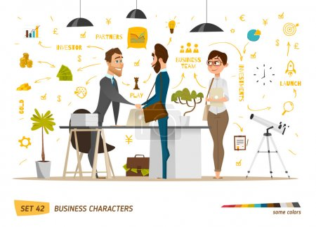 Illustration for Business cartoon characters collection.Vector illustration - Royalty Free Image