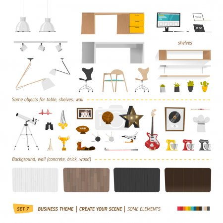 Illustration for Some office furnitures. Create your interior. Vector illustration - Royalty Free Image