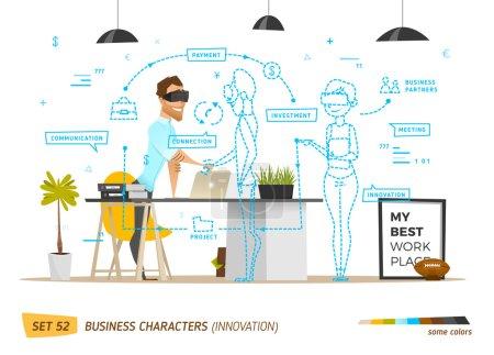 Illustration pour Innovation business style in office situation. Communication commerciale à l'avenir . - image libre de droit