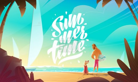 Illustration for Man And Dog On Beach. Summer Moment. - Royalty Free Image